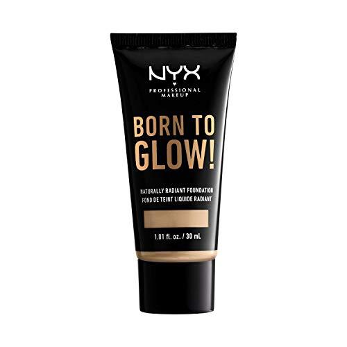 NYX Professional Makeup Born to Glow Radiant Foundation, Schimmerndes Finish, Aufbaufähige mittlere Deckkraft, Vegane Formel, Farbton: Nude