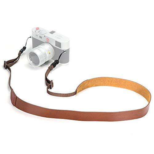 CANPIS Echtes Leder Kamera Gurt Schnellverschluss, CP001 Vintage Kamera Schultergurt Hals ragegurt für Nikon Canon Sony Pentax Leica Olympus Fuji Alle DSLR-Kamera (Fettiges Leder Braun)
