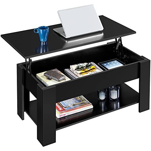 Yaheetech Tavolino da caffè Sollevabile 98 x 50 x 42-56 cm Tavolo Elevabile Moderno da Divanocon Ripiano Inferiore Salotto Soggiorno Nero