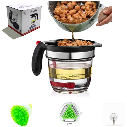 Farberly Fat Separator With Bottom Release DrainFood Strainers Oil Separator Food Strainers Gravy Separator Grease Separator Cup With Strainer 3FreeGifts To Give You Healthier And Better Tasting Food