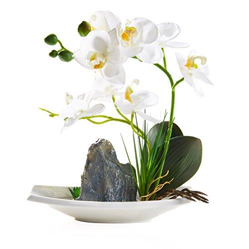 Qucover weiß Künstliche Orchidee in weißem Porzellantopf, realistisch künstliche Blumen und Pflanzen für Innendekoration, Schön und lebensecht Dekoration für Schlafzimmer und Wohnzimmer (Weiß, 26 cm