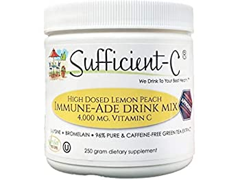 Sufficient-C High Dose Non-GMO Vitamin C - Lemon Peach Immune-Ade Drink Mix 250 Grams - healthy refreshing hydration that includes generous dosing of l-lysine bromelain and a 96% pure caffeine-free green tea extract - thyroid and adrenal support