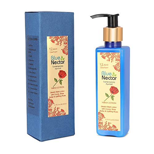 Blue Nectar Stretch Mark & Scar Body Lotion Cream with Cocoa Butter, Shea Butter & Uplifting Rose (12 Herbs, 200 ml)