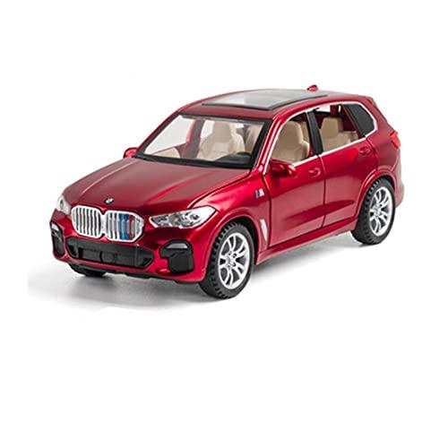 DZYWL Kits Modelos Coches Clásicos 1:32 For BMW X5 SUV Modelo De Coche De Juguete Fundido A Presión con Sonido Y Luz Regalo Amor Vacaciones (Color : Rojo)