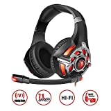 SADES,R16 PC Gaming Headset 7.1 Surround Stereo PC Pro USB Over Ear Headset with High Sensitivity Mic Vibration.Black&red