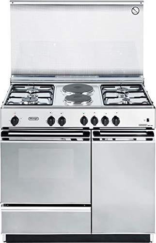 De Longhi SEX 8542 N ED - Cucina a gas con forno elettrico, N° 4 Fuochi + 2 Piastre, 90x50 cm, colore Inox