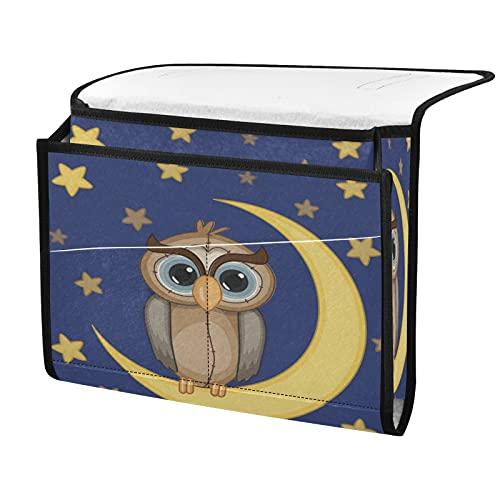 xigua Moon Star Owl - Organizador de mesa de noche con 4 bolsillos pequeños, bolsa para guardar el sofá con control remoto, libro y gafas, color gris oscuro