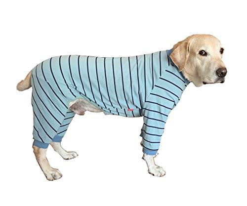 Ropa de perro grande, elástica clásica a rayas para mascotas protege las articulaciones anti-pelo pijama para perro de cuatro patas mono para perros grandes Labrador Golden Retriever (azul)