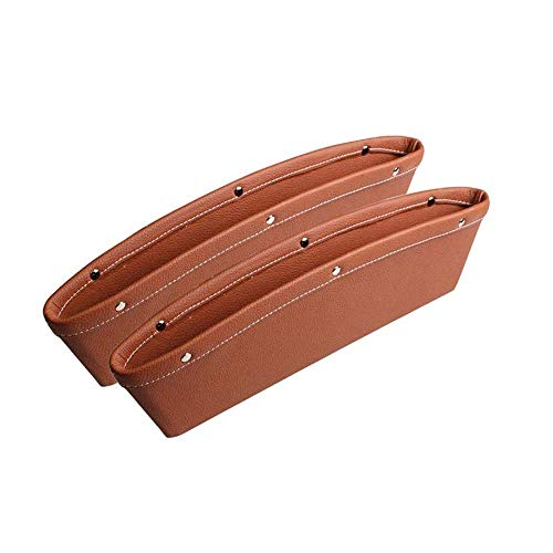Car Seat Gap Filler, WITSKICH 2 Pack Universal Car Pocket Organizer, PU Full Leather Car Front Seat Storage, Car Interior Accessories, Car Seat Side Caddy Catcher - Brown