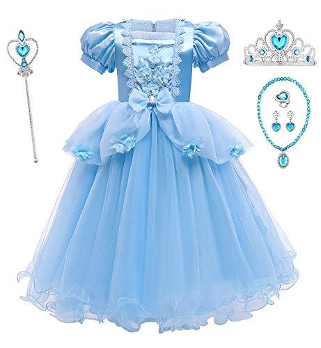 O.AMBW Ropa Azul para Nios Vestido de Cenicienta Cosplay Cinderella para Fiestas de Disfraces Carnaval Tutu Regalo de Nia de Halloween Disfraz de Princesa Cenicienta