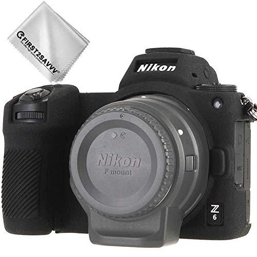 First2savv TPU Gummi Ganzkörper- präzise Passform Kameratasche Fall Tasche Cover Silikon Schutzhülle für Nikon Z7 Z6 Schwarz