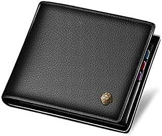 محفظة رجالية للاعمال من الجلد الاصلي بتصميم عصري قصير للاموال والبطاقات بمشبك لون اسود