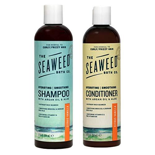 The Seaweed Bath Co. Hydrating Smoothing Shampoo & Conditioner, Citrus Vanilla, With Organic Bladderwrack Seaweed, Vegan, Paraben Free, 2x12oz