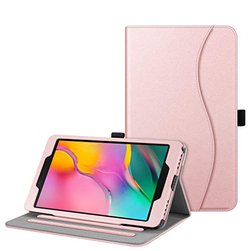 FINTIE Case for Samsung Galaxy Tab A8 8-Inch Tablet 2019 (SM-T290 / SM-T295), [Corner Protection] Multi-Angle Viewing Stand Cover with Pocket, Rose Gold