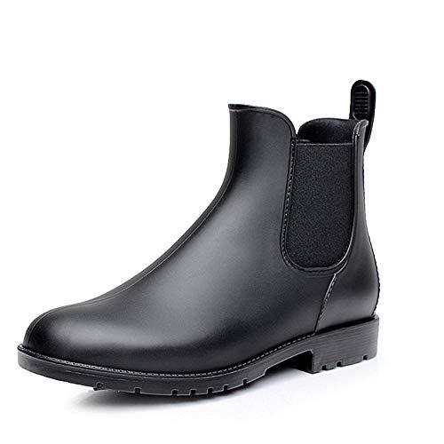 NEOKER Chelsea Gummistiefel Damen Herren Kurz Stiefeletten Regenstiefel Gartenarbeit Blockabsatz Wellington Boots Schwarz 43