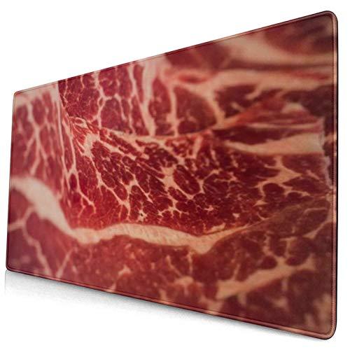 ALLMILL Alfombrilla Raton,Rebanadas De Filete Textura Marmoleado Nutrición Japonesa con Carne Wagyu Carne Roja Cruda Texturas Alimentos Carne,Alfombrilla Gaming Alfombrilla para computadora con Base