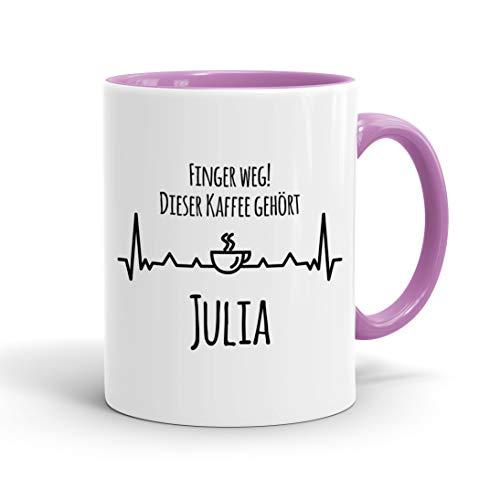 True Statements Tasse Finger weg Dieser Kaffee gehört Wunschname personalisiert - personalisierte Kaffeetasse mit Wunsch-Name ? spülmaschinenfest ? tolles Geschenk zu Weihnachten, innen rosa