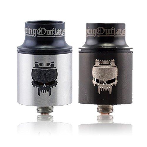 Vaping Outlaws Scorpion RDA Tank - NO Nicotine - 22mm Cigarrillo Electrónico Reconstruible Atomizador - Dripping Atomizador Pasador de flujo - 510 Pin Bobina (Plata)