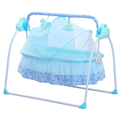 SANPLO Cuna Eléctrica Bebé Columpio Cama Automática Infanti Mecedora Multifunción (Azul)