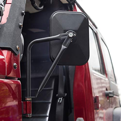 MICTUNING Upgraded Rectangular Adventure Door Hinge Mirror, Easy Installation Side Rear View Door Off Mirror compatible with Jeep Wrangler JK CJ YJ TJ