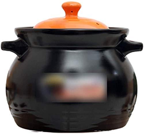 GAOZHEN Suppenauflauf Runder Keramikauflauf, hitzebeständiger Irdener Topf Tontopf Suppentopf mit Deckel und Griff Gesundes Kochgeschirr für langsames Kochen Hot Pot Schwarz A 0,63Quart (Farbe: Schw