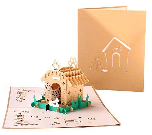 DEESOSPRO® [Tarjeta de Cumpleaños] [Tarjeta de Aniversario] [Tarjeta de Graduación] con Patrón Emergente 3D Creativo, Regalo para Cumpleaños, Graduación, Navidad, Día del Niño (Perro)
