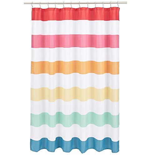 Amazon Basics Kids Bathroom Shower Curtain - Rainbow Banded Stripe, 72 Inch