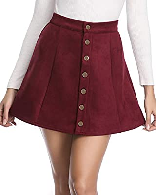fuinloth Women's Faux Suede Skirt Button Closure A-Line High Wasit Mini Short Skirt 2020 Wine Medium (US 8-10)