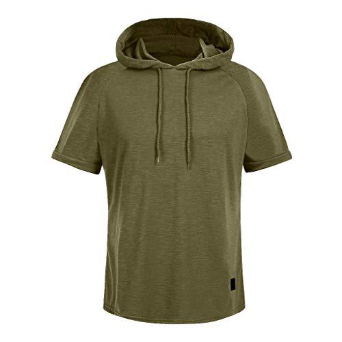 Geilisungren Herren Mode Slim Fit Kurzarm T-Shirt Große Größen Sommer Hoodie Tops Männer Einfarbige Kordelzug Sweatshirt Sport Fitness Bluse