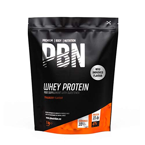 PBN - Premium Body Nutrition Whey Protein 1kg Strawberry, New Improved Flavour