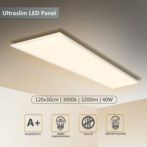 LED Panel Deckenleuchte 120x30 CM 40W 4000Lumen Wandleuchte Warmweiß 3000K LED Lampe Ultraslim Einbauleuchte weißrahmen Befestigungsmaterial und Trafo[Energieklasse A+]
