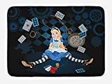 GoEoo Alice in Wonderland Bath Mat, Grown Size Alice Sitting with Flying Cards and Rose Checkered Cartoon, Plush Bathroom Decor Mat with Non Slip Backing, 15.7' X 23.6', Dark Blue