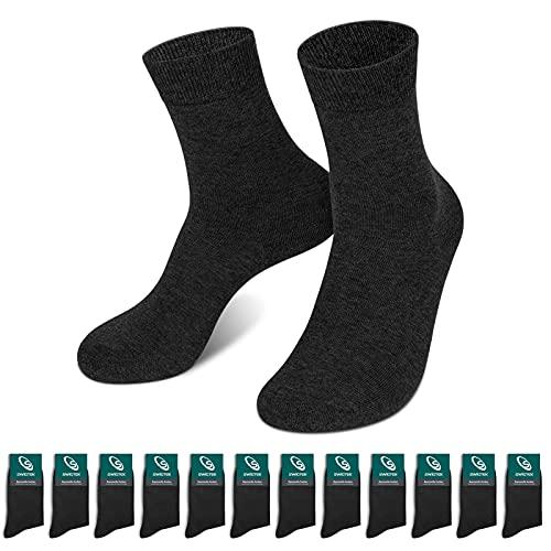 Swigtek 12 Paar Socken Herren Damen Unisex Komfort Anzugsocken Baumwolle Schwarz Business Socken (Schwarz X12 ,43-46)