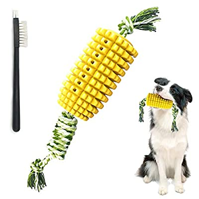 Jondarla Dog Chew Toys, Corn-Shaped Puppy Toy for Dog Teeth Cleaning, Dog Rope Toy for Pull Game, Interactive Tough Rubber Dog Toothbrush Stick, Dog Chew Tooth Brushing Kit, Puppy Teething Chew Toys