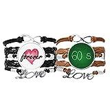 Bestchong Kowledge 60 Segundos Art Deco Regalo Pulsera de moda Correa de mano Cuerda de cuero Forever Love Wristband Set doble