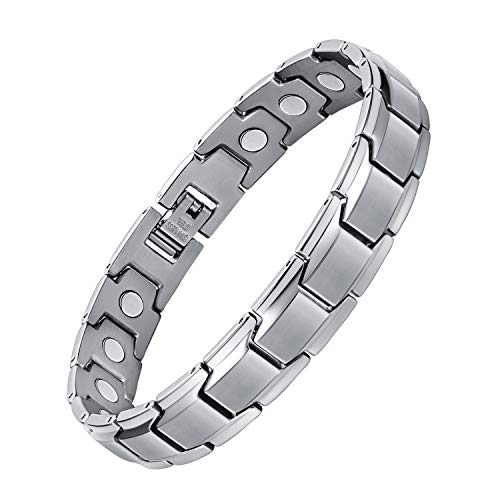 Jeracol Magnetic Bracelet Arthritis Bracelets for Men Women Pain Relief and Carpal Tunnel Titanium Steel Magnetic Therapy Bracelet Adjustable Wristband Healthy Gifts with Removal Tool & Gift Box