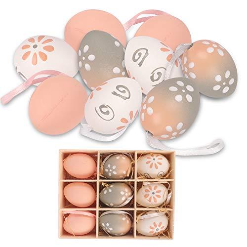 FORMIZON 9 Pezzi Uova di Pasqua, Uova di Alta qualità Multicolore, Decorazione di Uova Pasquali, Appendere Decorazioni di Uova di Pasqua, Sagome a Forma di Uovo di Pasqua per Artigianato…