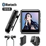 Lettore MP3, lettore musicale portatile portatile da 32 GB BENJIE con Bluetooth 4.0, clip e schermo touchscreen da 1,5', supporto e-book, riproduzione video, per amanti dello sport e della musica