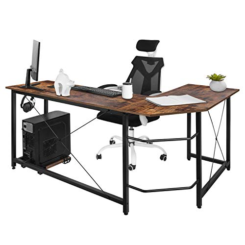 AuAg Modern L-Shaped Home Office Desk with Iron Hook