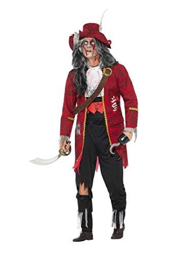 Smiffy's - Heren Deluxe Zombie Piraten kapitein kostuum, jas met aangebrachte latex ribben, broek, laarzen overtrekker, bovendeel, hoed, haak en riem, rood