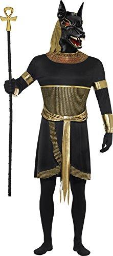 """Smiffy's-40096M Miffy Disfraz de Anubis el chacal, con túnica, Cuello, brazaletes, muñequeras y, Color Negro y Oro, M-Tamaño 38""""-40"""" (40096M)"""