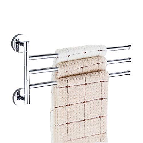 PHOEWON Draaibare Handdoek Rail Chroom RVS Bad Rack Wandmontage Handdoek Rek Houder met Draaibare Bars, Swing Handdoek Houder voor Keuken, Badkamer, WC 3-arm