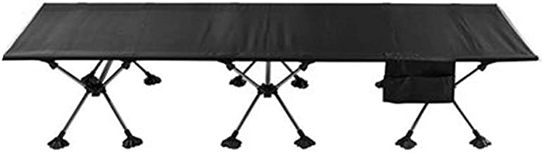 Home Outdoor/Folding Bed Outdoor Aluminum Single Bed Camp Bed Camping Slip Portable Black (Color : Black)
