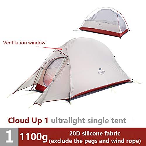iBasingo Cloud Up Tienda De 1/2/3 Persona ActualizacióN Tienda De Doble Capa Tienda De Domo para Camping Ultraligera Al Aire Libre Tienda De Tela Impermeable 20D / 210T para Senderismo Mochilero