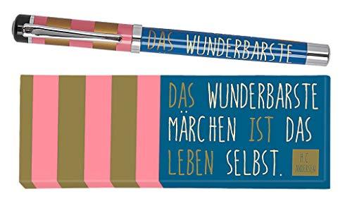 moses. libri_x Tintenroller Hans Christian Andersen | Tintenschreiber mit austauschbarer blauer Mine | In einer Geschenkschachtel, mehrfarbig