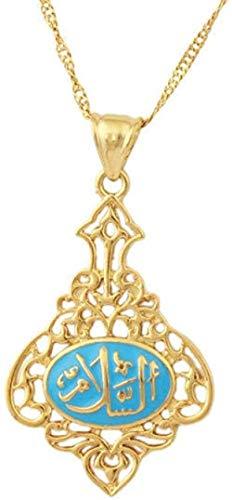 Collar Mujer Collar Hombre Azul Islámico Color dorado Collares pendientes Collar con diseño de Oriente Medio Charm Jewelry para mujeres y hombres Mohammed Allah Joyería árabe Colgante Collar Niñas Niñ
