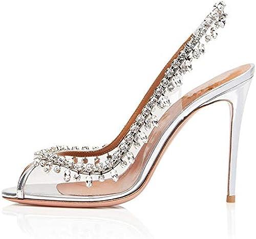 HommesGLTX Talon Aiguille Talons Hauts Hauts Sandales 2019 Femmes Sandales en Cristal Stiletto Chaussures à Talons Hauts Femme Peep Toe Chaussures D'été élégantes Chaussures De Soirée Peu Profondes Femme  Dans votre attente