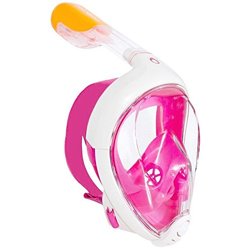 TRIBORD SUBEA EASYBREATH (2019 Version) Full FACE ANTIFOG Snorkel MASK with A Secure Lock and Free Replacement Ring & Optional Camera Mount - for Adults OR Kids (Pink, S/M)
