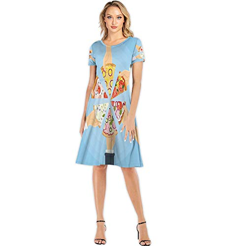 Hands Holding Pizza.USA,Woman Fashion Apparel Evening Dress Pizza S