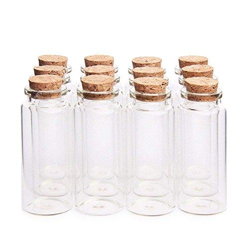 Danmu Art 30 ml Pequeño Borrar Botellas de Vidrio Viales Cristal con Tapones de Corcho 1.18